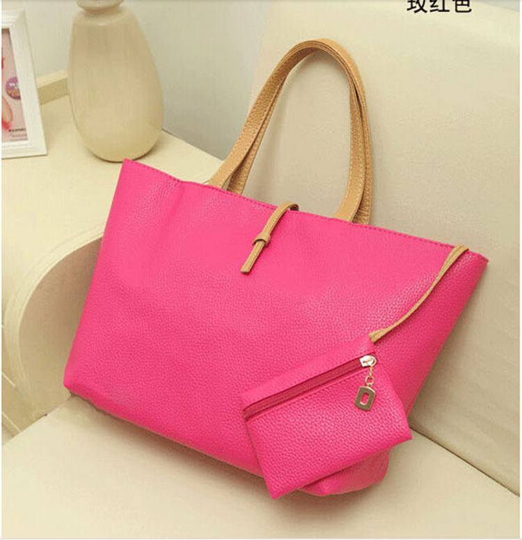 2015 High Quality Black Women Fashion Famous Brand Casual Shoulder Bags New Simulated Leather Handbags Tote Clutch Purse Bolsas(China (Mainland))