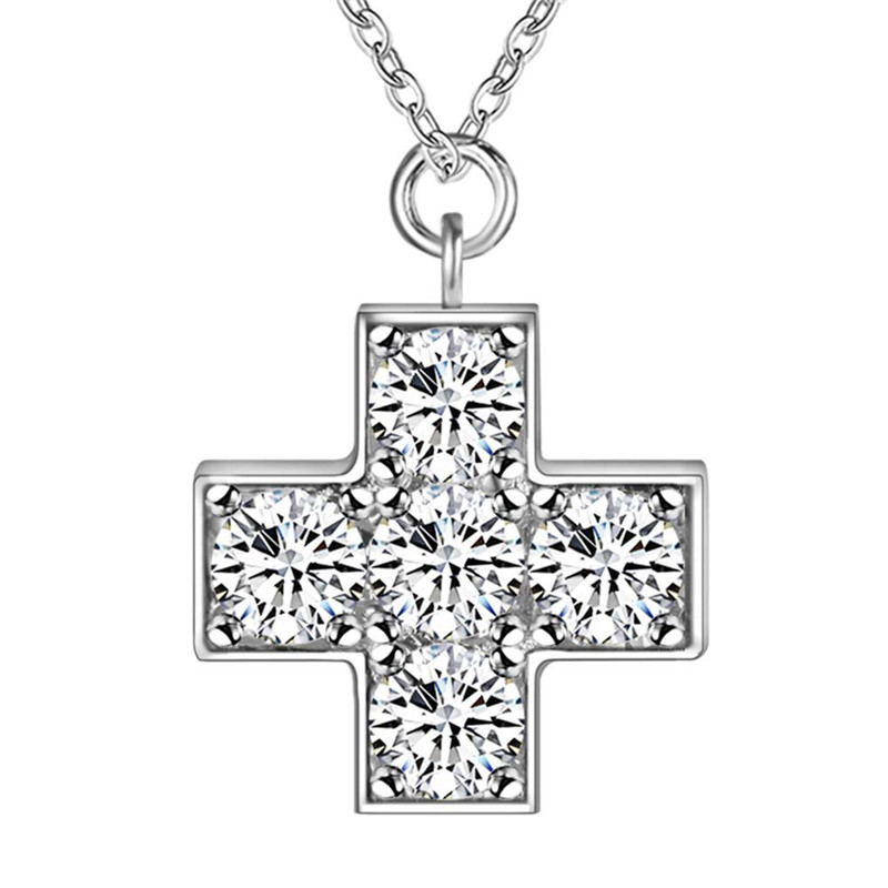 Hot fashion silver CZ diamond cross pendant necklace beautiful wedding gift for woman Top quality AN236(China (Mainland))