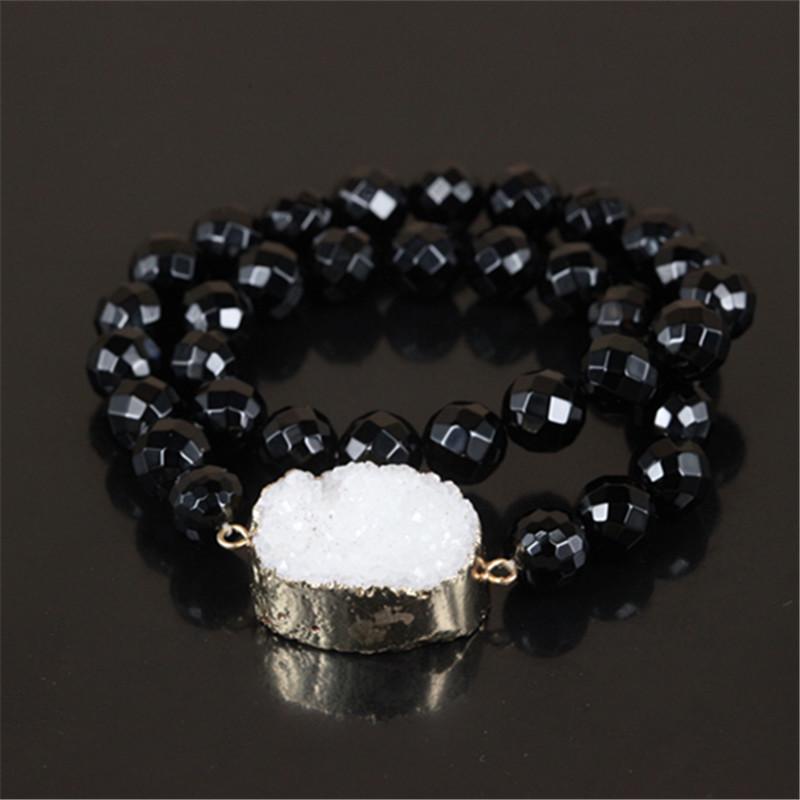 10pcs High quality charm drusy druzy crystal quartz stone bangles natural round gem stone beads women lucky bracelet as a gift<br><br>Aliexpress
