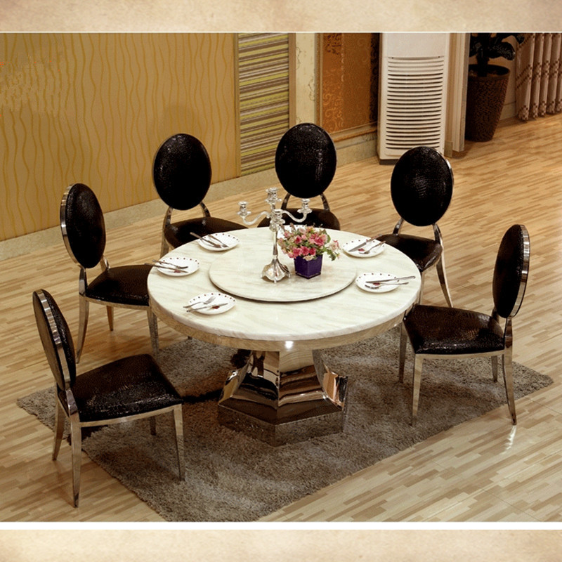 8 seater big round dining table with turntable marble top dining table with stainless steel fram(China (Mainland))