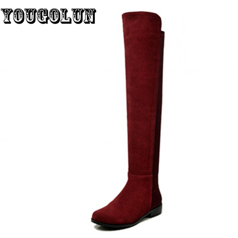 Фотография Sexy Fashion Elegant suede Genuine+Elastic cloth thigh high winter women riding boots,2016 new Woman shoes sapatilhas femininos
