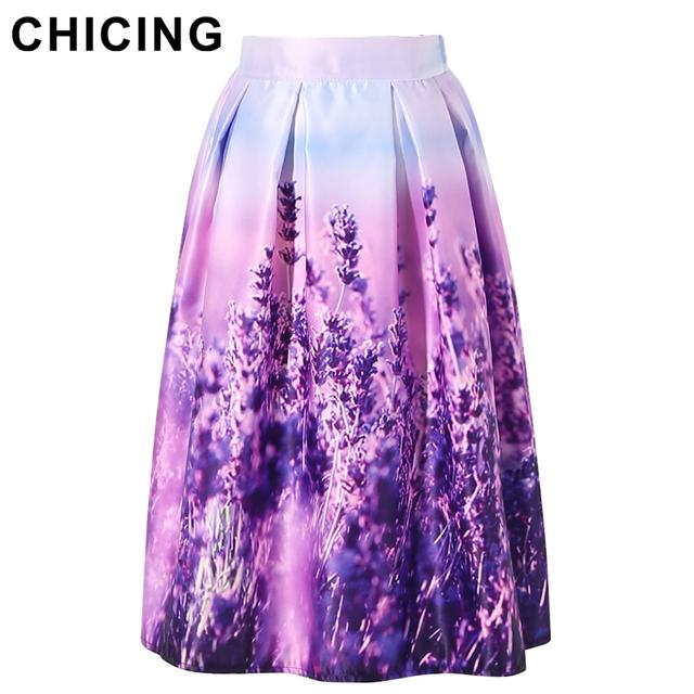 Chicing женщины цветочный миди юбки Большой размер XXL 2016 фиолетовый лаванды напечатаны ...