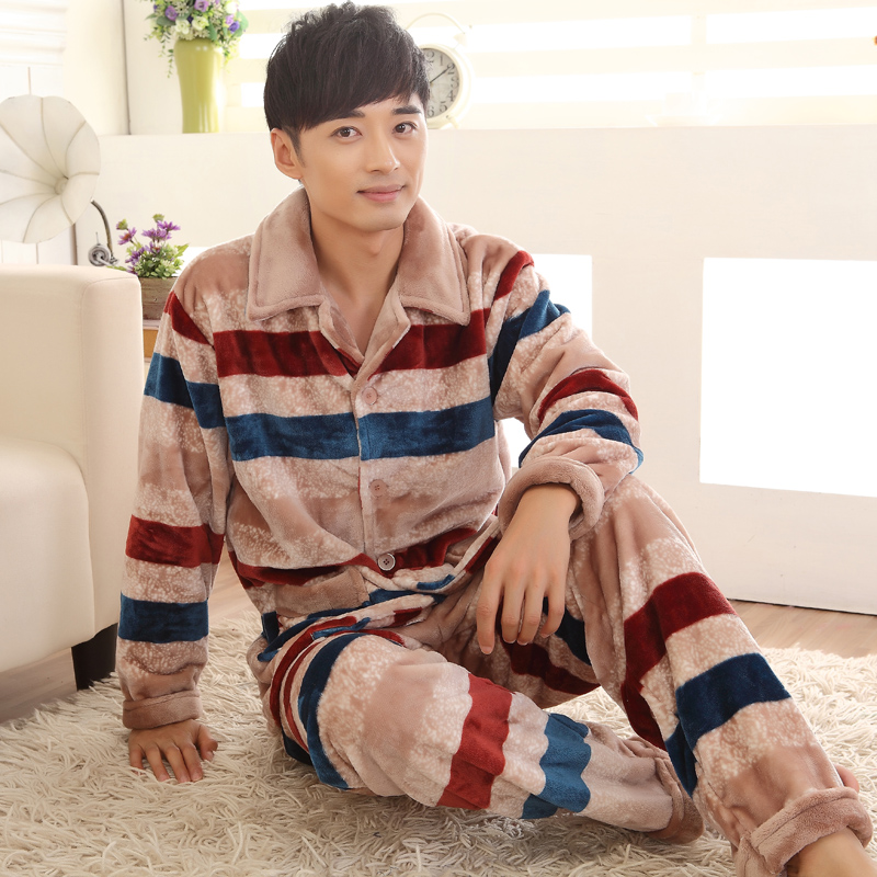 Men Pyjamas Warm Winter Pajamas Striped Flannel Thickening Fiery Sleep Pajama Sets Men Lounge Pajamas 4XL Cardigan pajamas(China (Mainland))