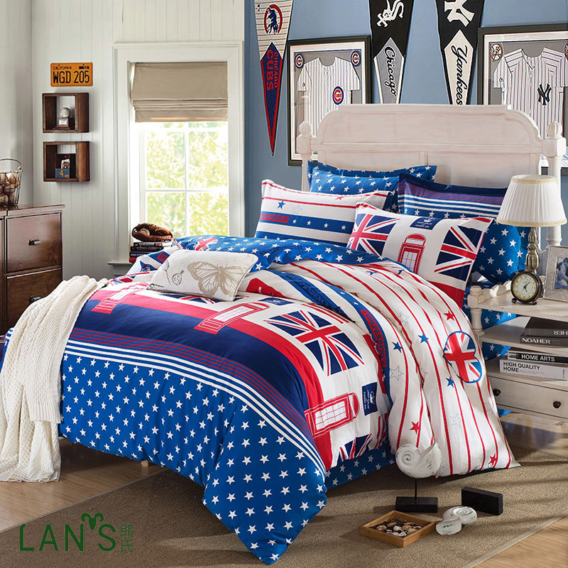 100 cotton 2016 british style stylish 4pcs comforter for Bed style 2016
