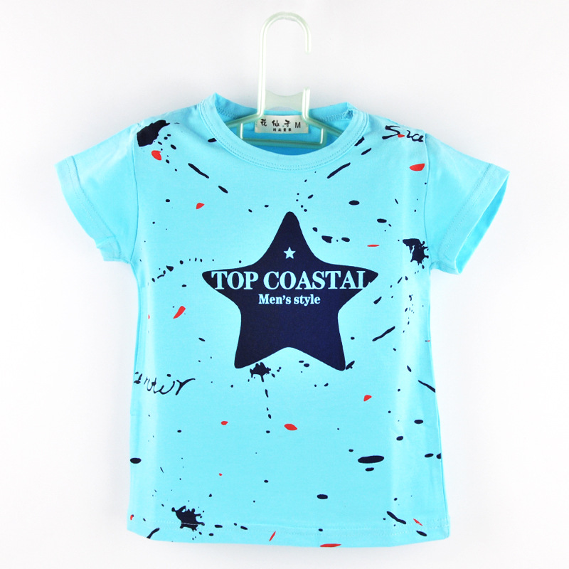 6M-4year New Infant Baby Boys Kid Tops t-Shirt Summer Short Sleeve t Shirt For Girl Star Shirts Boys Top Tees Free Shipping(China (Mainland))