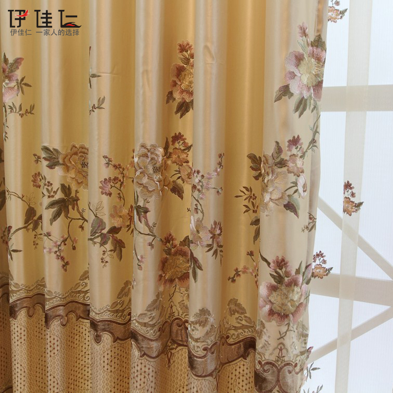 Luxury Quality Gold Thread Embroidered Curtain Sheer Window Screening Quality Finished Curtain