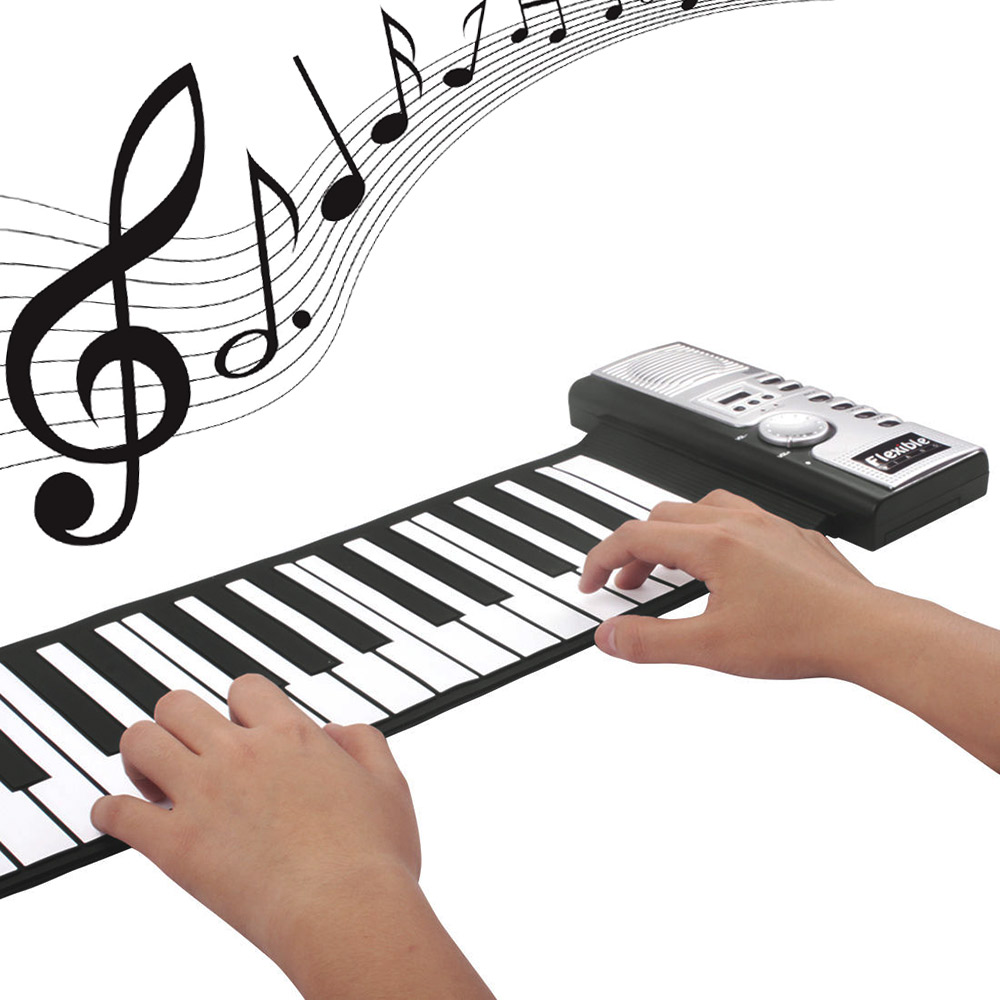 Flexible 61 Keys Silicone MIDI Digital Roll-up Keyboard Piano with 128 Tone 40 Demo Songs for Home Education kids toys(China (Mainland))