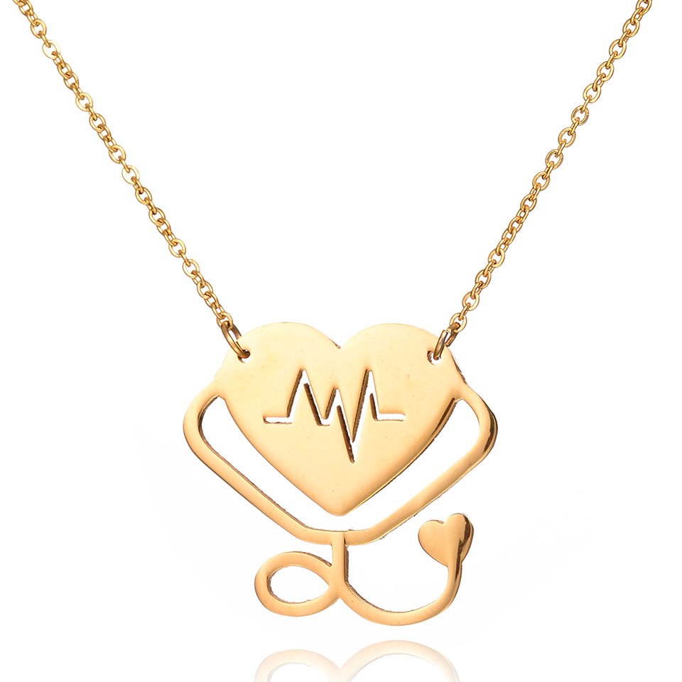 New Medical Stethoscope Pendant Necklace Gold Plated Heart Beats Collar 316L Stainless Steel Chain Necklace
