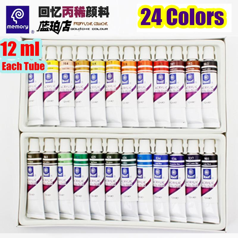 24 Colors 12ml Color Set Acrylic Paint For Painting Shoes Drawing Walls Artist Paint Non Toxic Tints Acrylics(China (Mainland))