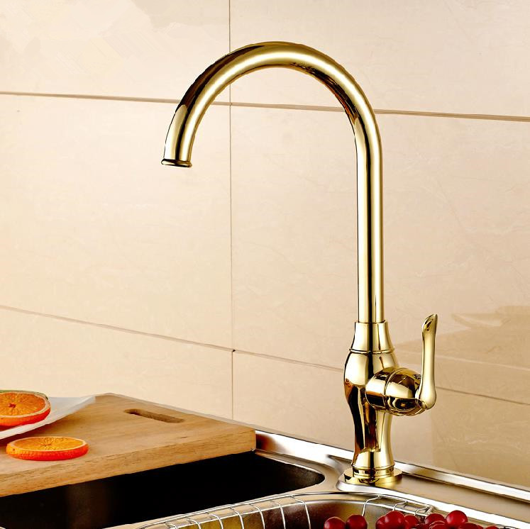 Free shipping contemporary single cold Kitchen faucet tap Gold electroplating Swivel Bathroom Basin Sink water Tap 45023(China (Mainland))