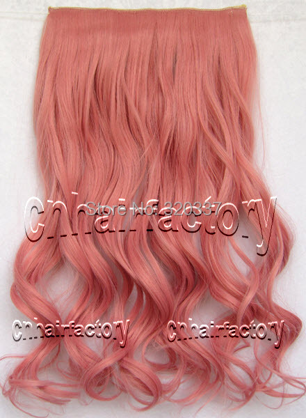 Heat Resistant Clip on Hairpieces Curly Clip in Hair Extensions Synthetic Hair Extensions #2311 D Pink Hair Extension(China (Mainland))