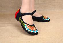 Fashion Old Peking Cloth Shoes Chinese Style Totem Flats Mary Janes Embroidery Casual Shoes Red+Black Dance Women Shoes(China (Mainland))