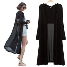 Maxi Cardigan Feminino 2015 Ankle Length Sweater Coat Women Knitted Long Sleeve Korean Vintage Black Oversized Sweaters Dress(China (Mainland))