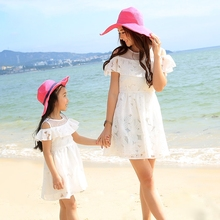 Summer FAMILY clothing falbala off shoulder mother daughter Dresses white floral women Girl dress casual Girls Party dress