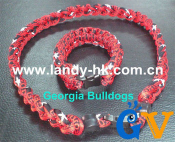 Fashion Custom Team Titanium Ionic Sports Necklace + Team Paracord Survival Bracelet, 100 set/lot, Free Shipping