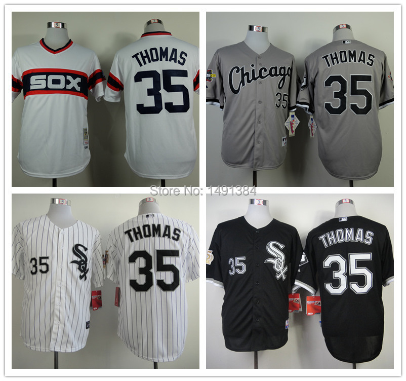 New Freeshipping Chicago White Sox Baseball Jersey,35 Frank Thomas Men's Throwback New Jersey White Strip Black Gray Cheap Sale(China (Mainland))