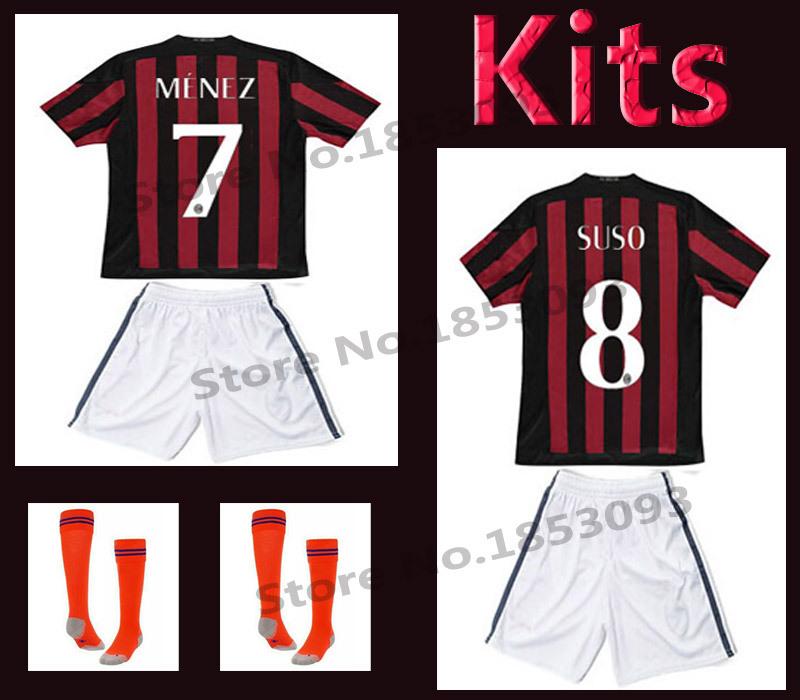 AC milan 15 16 kids boy soccer jerseys milan PALETTA DE JONG MENEZ HONDA MONTOLIVO children shirt(China (Mainland))