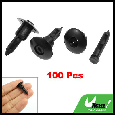 7mm Fit Hole Diameter Plastic Push Fastener Rivets Clips Black for 100 Pcs/lot(China (Mainland))