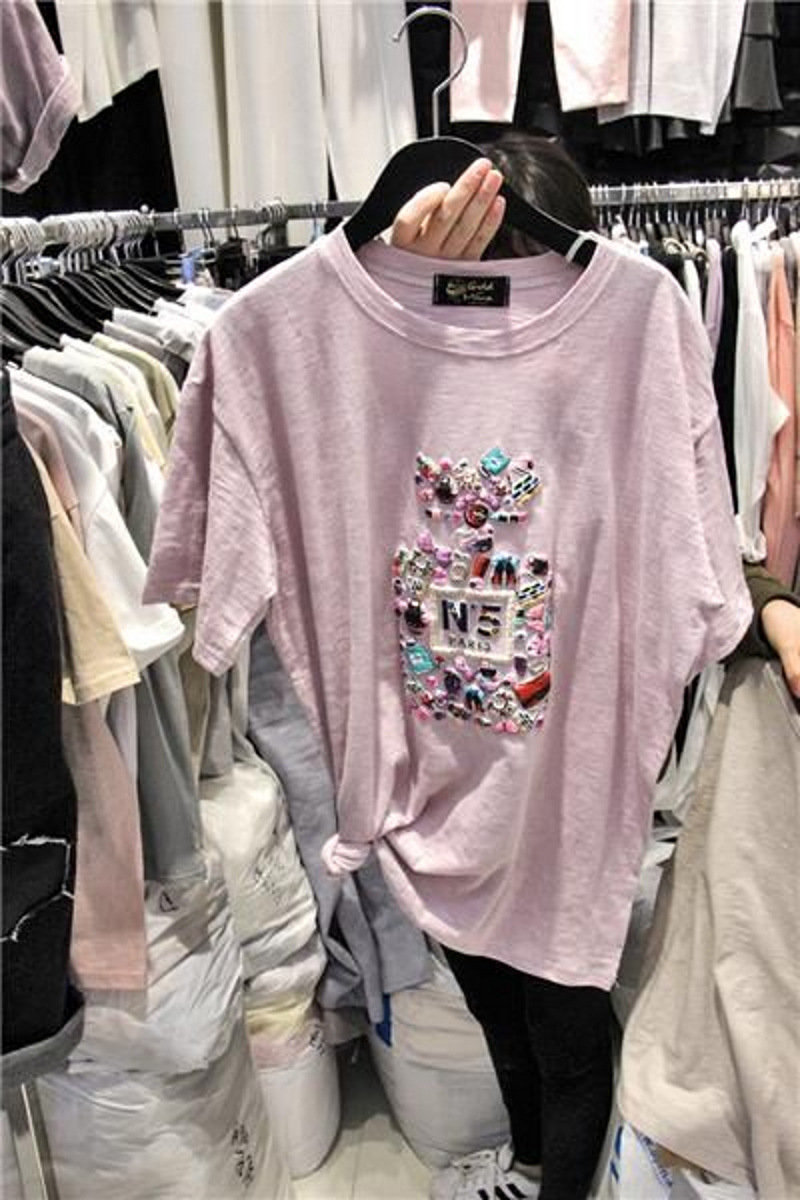 2016 Ladies Women Casual T shirt Summer New Arrival Short Sleeve Perfume Bottle Printed Tees Tops Female Woman Cotton T-shirts(China (Mainland))