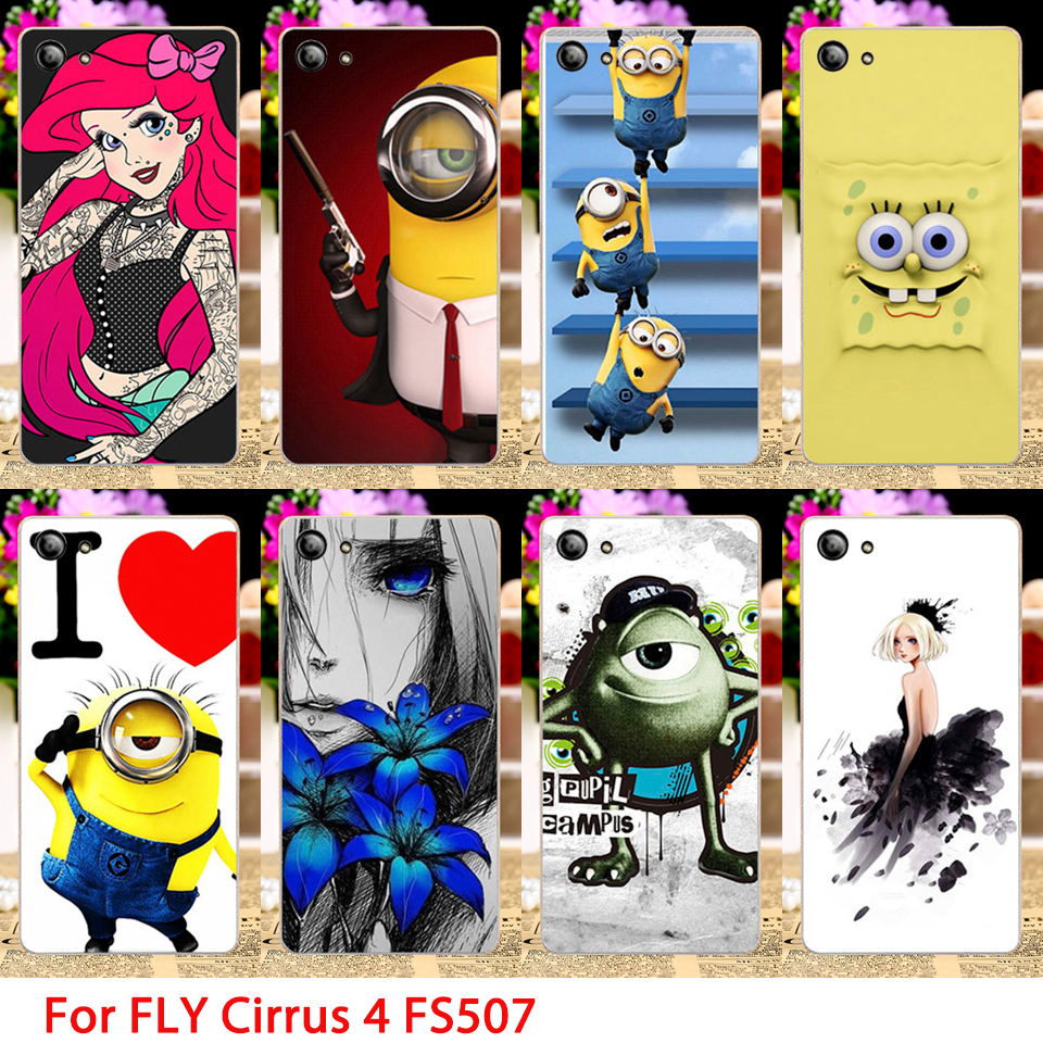 Soft TPU Phone Cases For Fly Cirrus 4 FS507 Cartoon Minions Hard Cell Phone Back Covers Housings Sheaths Skins Shields Hood Bags(China (Mainland))