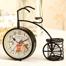 Fashion bicycle rustic flower wall clock fashion wall clock birthday honey gift(China (Mainland))