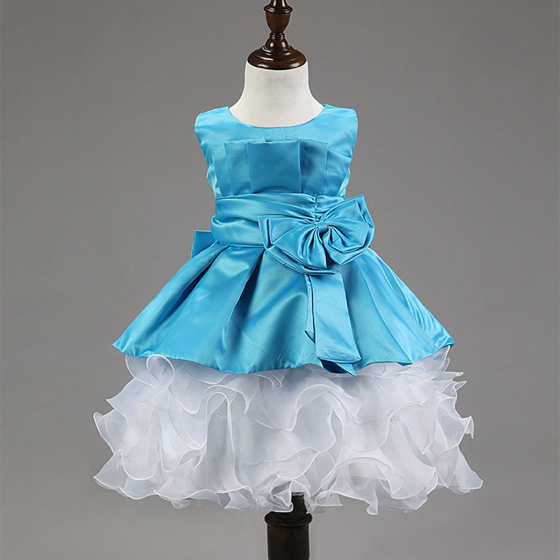 Free shipping 2015 Chirstmas Kids Girl Dress Rose Baby Girl Princess Clothing Infant Dress With Bow Girl Formal Party Dress(China (Mainland))