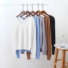 2017 spring autumn western style fashion slim long sleeve 5 colors SM V-neck woman's Casual short pullover Sweaters knitwear(China (Mainland))