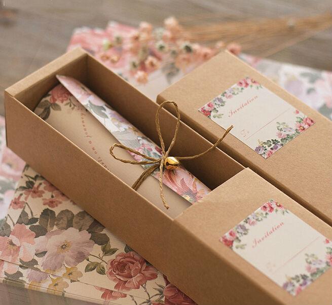 2016 New European style mariage invitations card kraft paper carton hemp rope bell scroll invitations 30pcs/lot(China (Mainland))