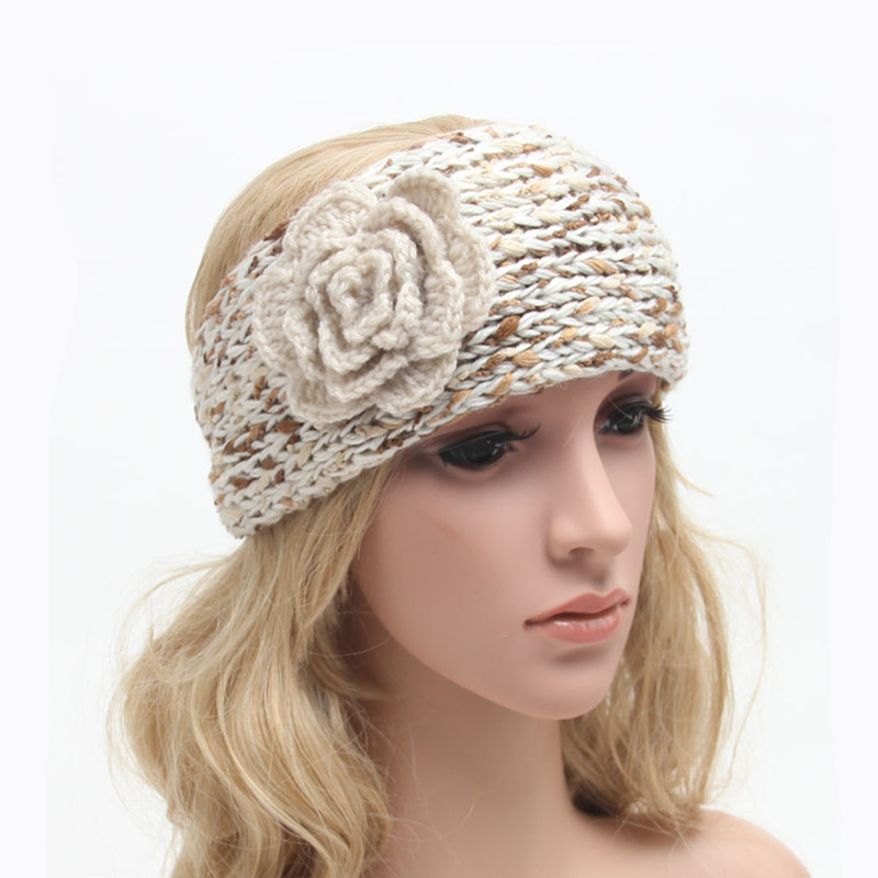 Classical Women Crochet Turban Headbands Knitted Flower Hairband Winter Ear Warmer Headwraps for Girls Teens 1pc WH267(China (Mainland))