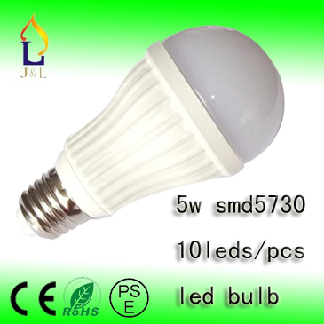 FEDEX Free Shipping 5W SMD5730 10led/pc LED Bubble Ball Bulb AC85-265V E14 E27 B22 GU10,white shell color,white, warm/cool white(China (Mainland))