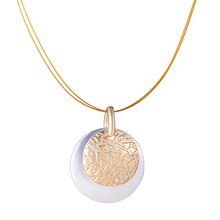 Buy Fashion Jewelry Lady's Gold-color Silver Plated Crystal Round Pendant Necklace Double Chain Shiny Pendant & Necklaces Women for $2.09 in AliExpress store