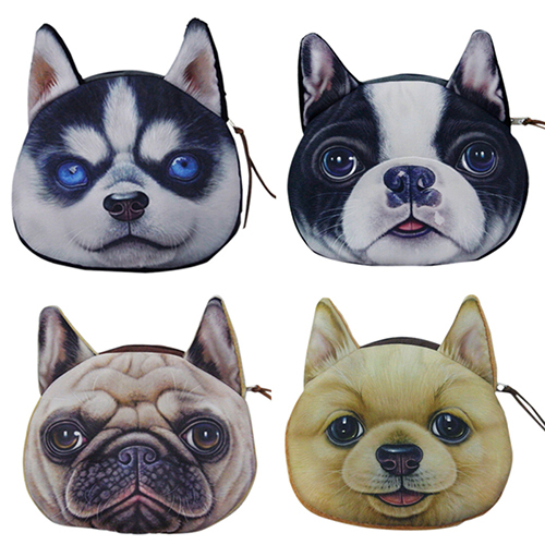 2015 new coin purses wallet ladies 3D printing dogs animal big face change fashion cute small zipper bag for women 5QSA(China (Mainland))