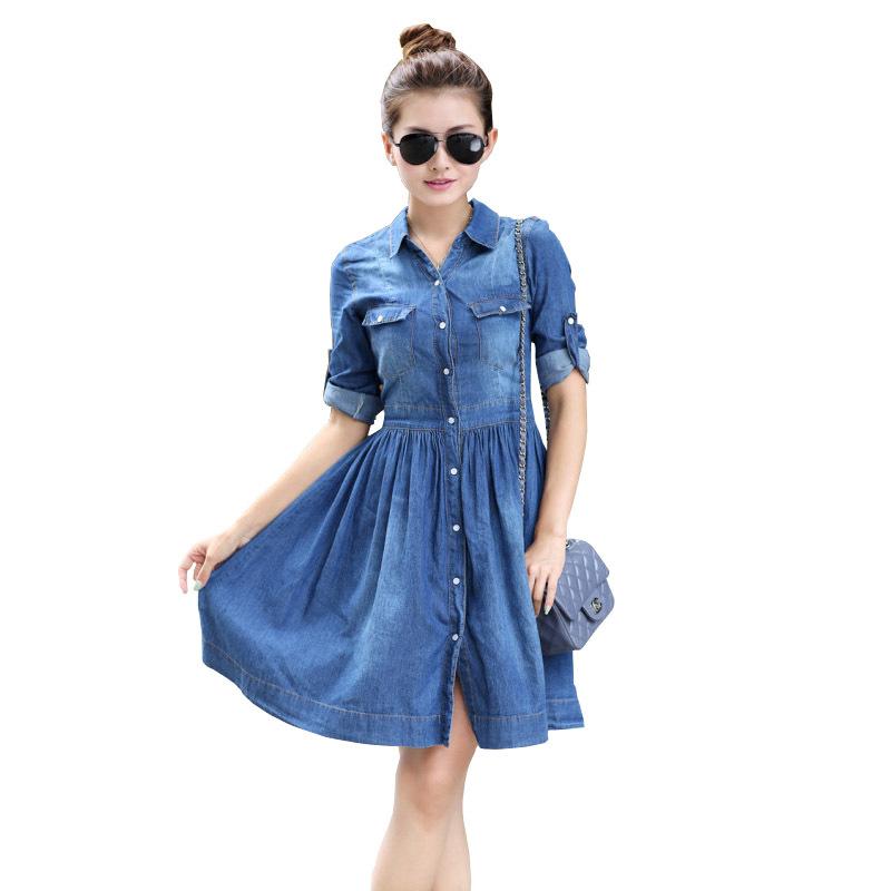 Summer Style Women Jeans Dress 4xl Elastic Waisted Button