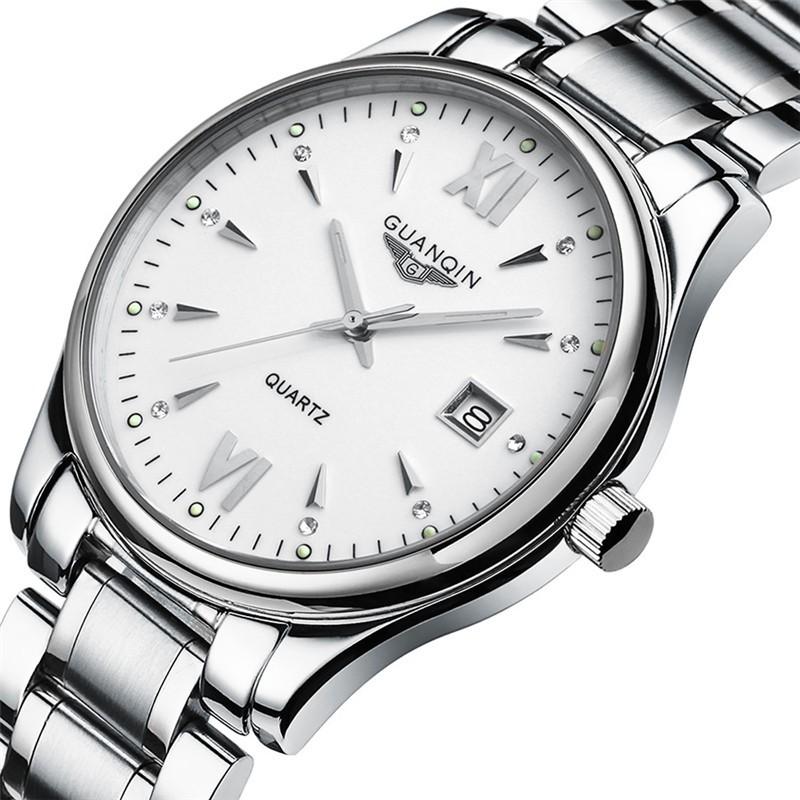 Мода GUANQIN Мужские Часы Бизнес Полный Стали Смотреть Luxury Brand Спорт Водонепроницаемый Стильный Повседневная Часы Парня Relojes Hombre