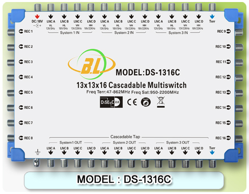 Satellite TV switch DS-1316C(cascadable) Connect the LNB and the receiver 12 SATV and 1 CATV program for 16 users to watch(China (Mainland))