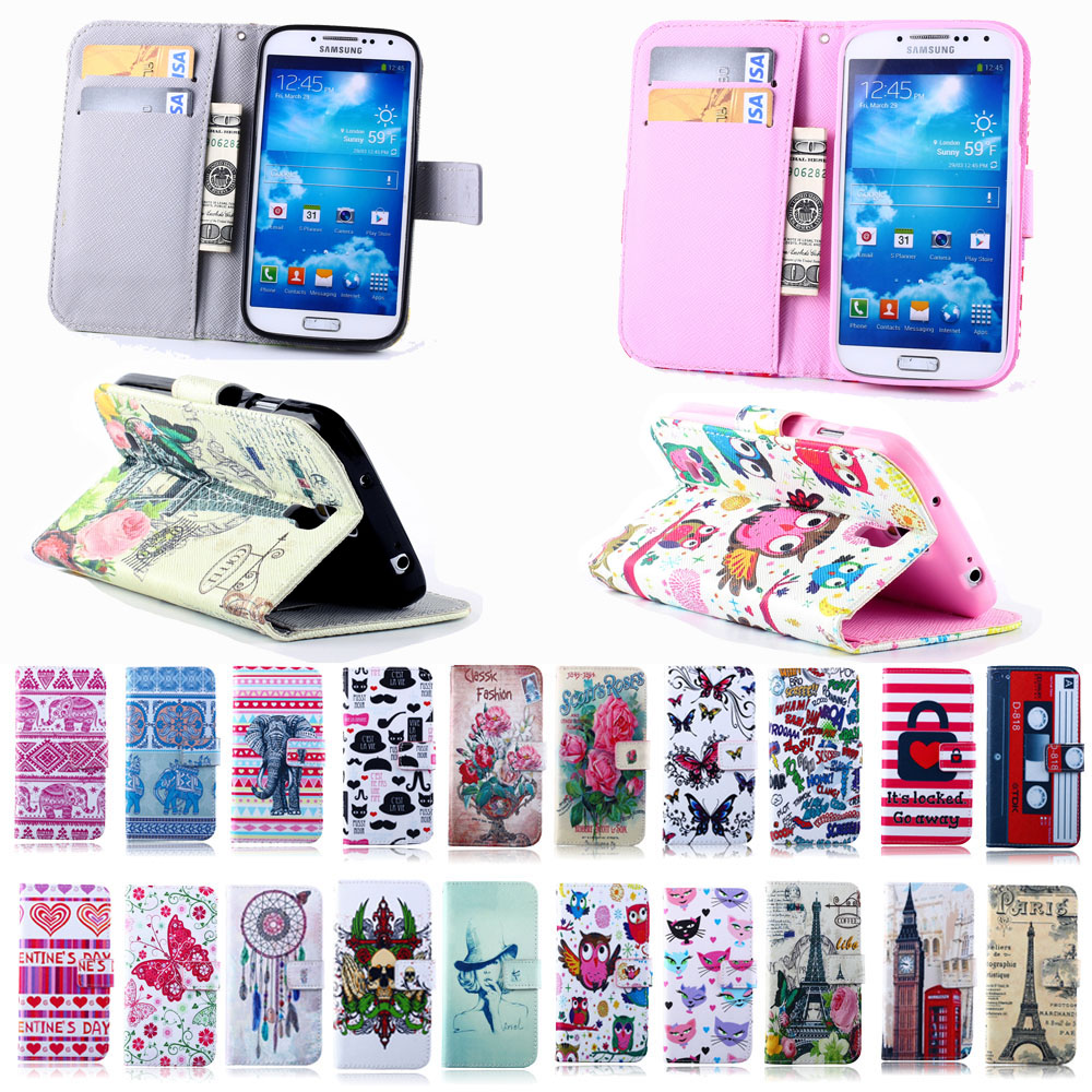 Elephants Paris Tower Leather Stand Wallet Card Holder Flip Cover for Samsung Galaxy S4 I9500 Protector Case for samsung s4 Capa(China (Mainland))