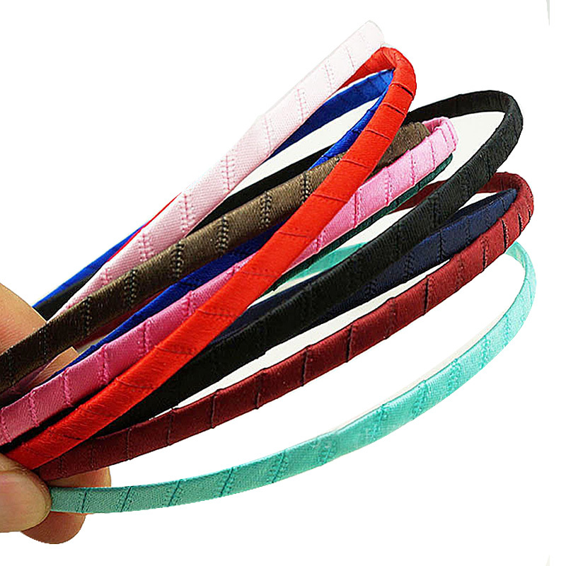 10pcs Children Colored Satin covered Hairbands Ribbon Covered Adult Kids DIY Headbands #2459(China (Mainland))