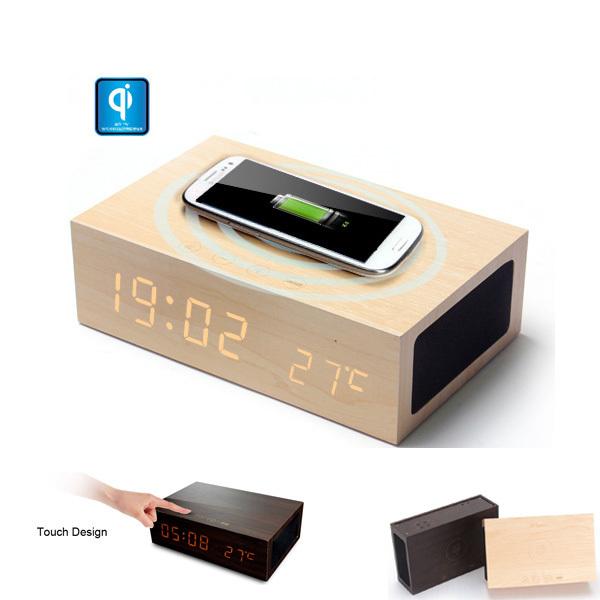 Original W2 QI Wireless Charger Wooden LED Clock Bluetooth Speaker W/ Thermometer & Alarm Charging Pad Mat Wood - Fashion Digital Gadgets store
