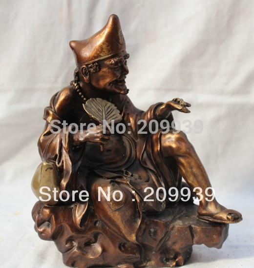 huij 00152 Lucky China Chinese Myth Eminent Monk Bronze Seat Chai Ji gong Mad Monk Statue(China (Mainland))