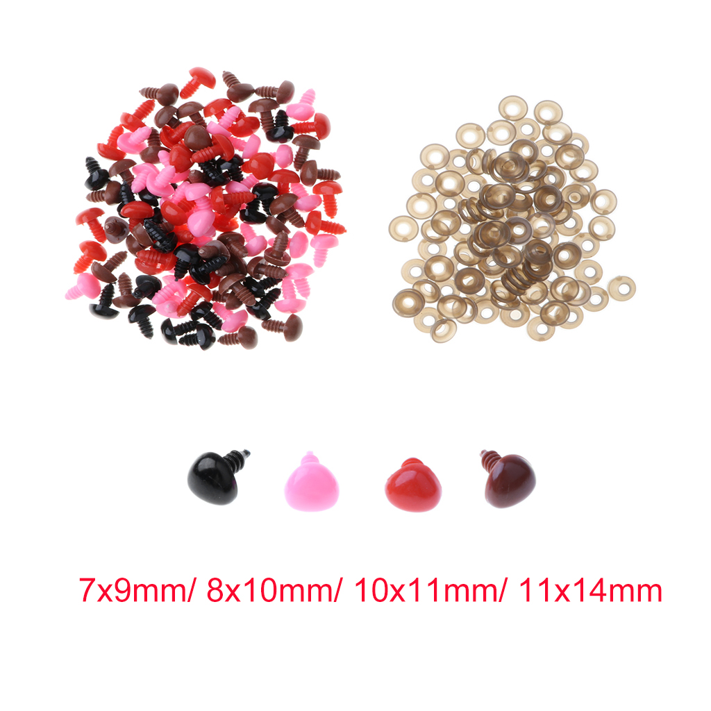 100pcs Mix Colored Plastic Screw Safety Nose for Bear Doll Stuffed Toy Animal Doll Nose for Teddy Bear Soft Toy Making or Repair