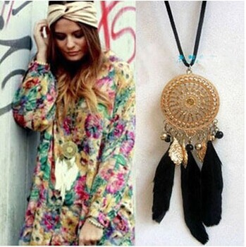 Gothic Indian Dream catcher Necklace Bohemia style 2014 fashion vintage long necklace pendant sweater chain women jewelry(China (Mainland))