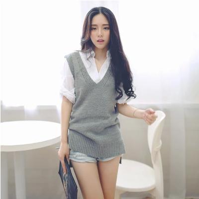 Женщины мода Большой размер одежды без рукавов свитер женский вязаный жилет средней ...