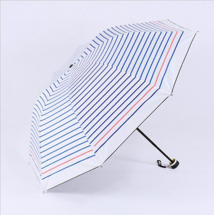 2016 New Fashion Black Blue Stripes UV Proof Umbrella Women Sun Umbrellas Elegant Fresh Ladies Rain Folding Paraguas US055(China (Mainland))