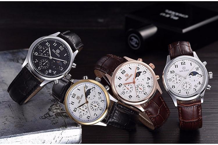 MEGIR смотреть Мужчины Кварцевые Часы Мода Reloj Хомбре Нержавеющей Стали Водостойкой Наручные Часы