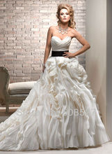 Robe De Mariee 2016 Custom Made White/Ivory Organza Satin Black Sash Pleat Flowers Ruffles A-Line Wedding Dress Bridal Gowns(China (Mainland))