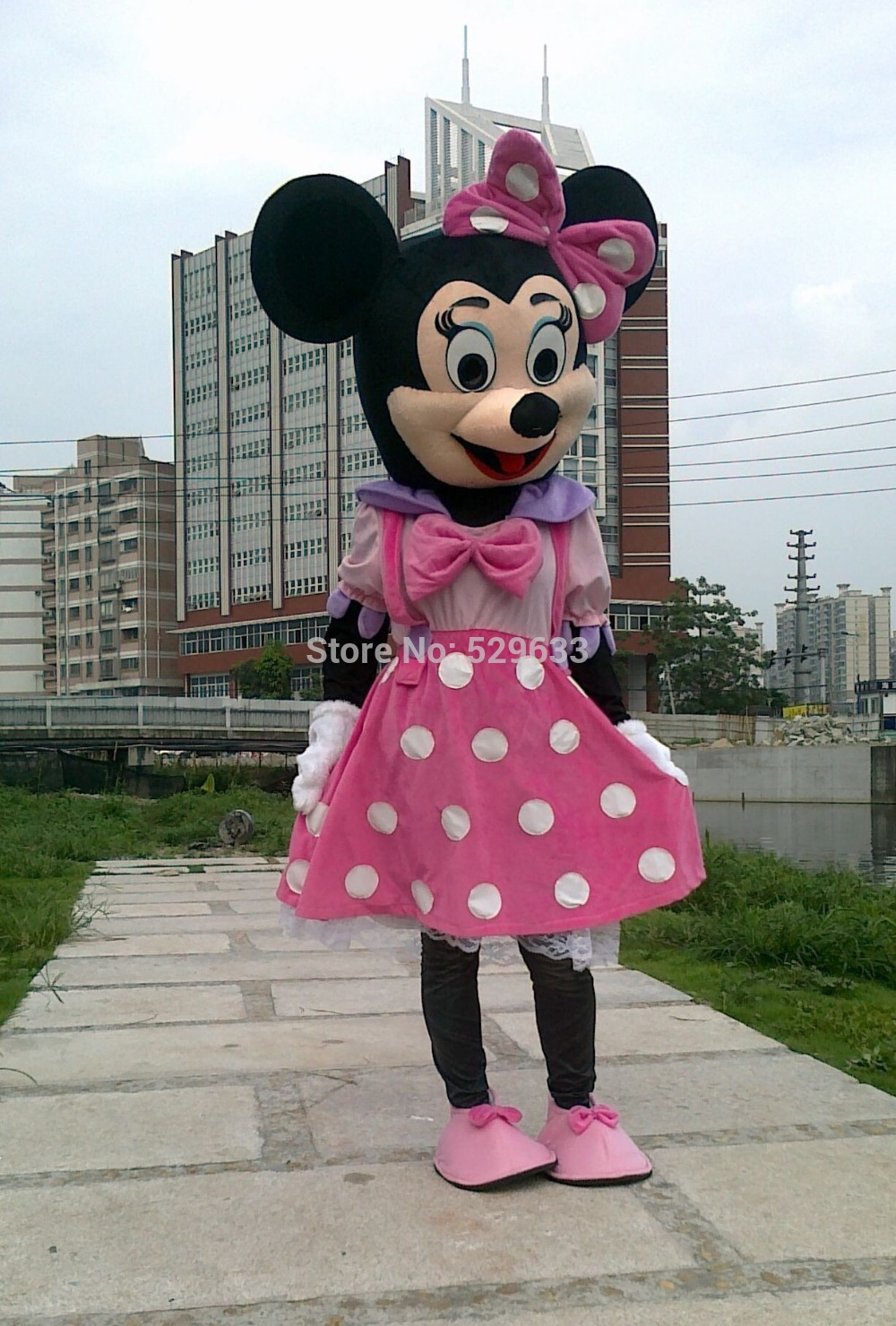 New 2015 Hot Sales Adult Party Dress Version Minnie Mascot Costume Pink Min nie Mouse Mascot Costume Free Shipping(China (Mainland))