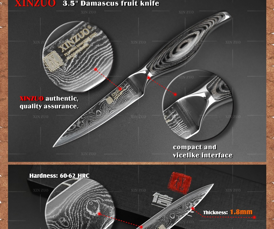 "Buy 3.5"" paring knife kitchen knife VG-10/VG10 Damascus steel  kitchen knives parer fruit knife with wood steel handle FREE SHIPPING cheap"
