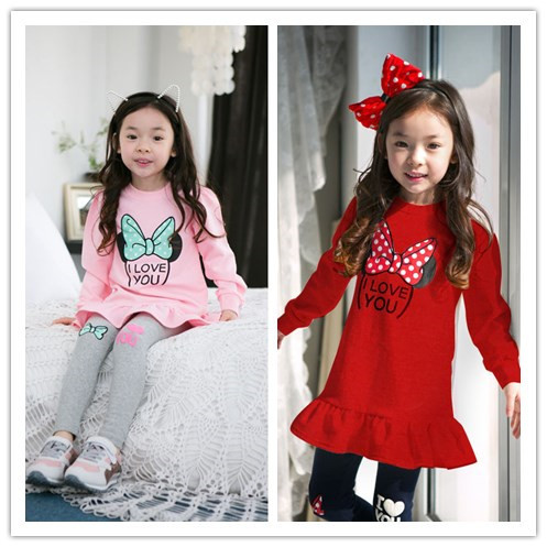 2pieces set 2015 Korean style new girls clothing sets long section minnie mouse t shirt