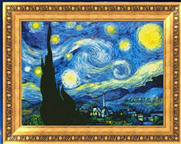 Needlework,stitch,DIY DMC Cross Stitch printed Sets For Embroidery kits Van Gogh Star sky Counted Cross-StitchingWall Home Decro(China (Mainland))