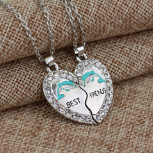 Silver Heart  Pendants Necklace Bff Best Friendship Charming Splice Heart Pendant Best Friends Letter Necklace Women Gifts (China (Mainland))